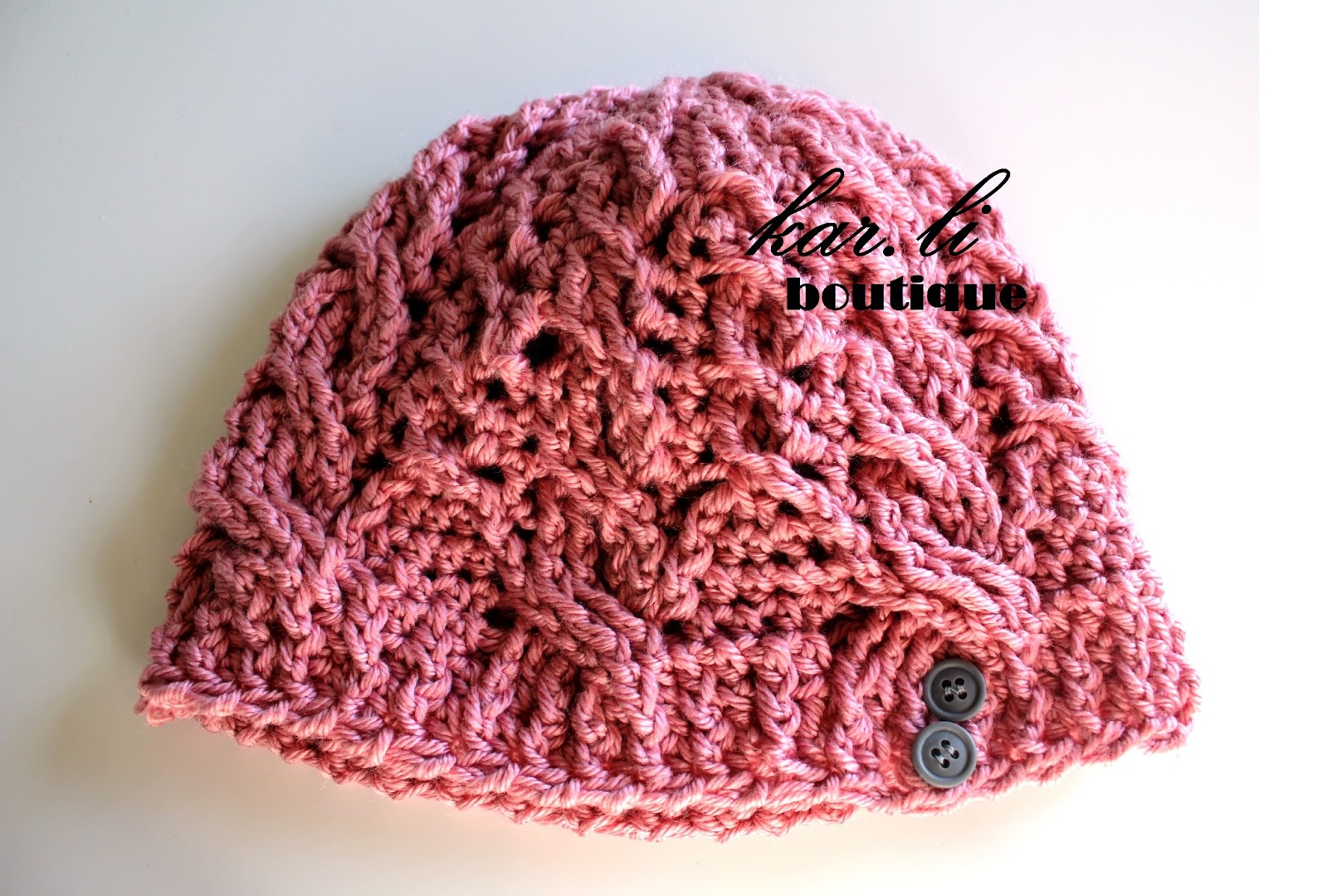 cable beanie crochet pink buttons