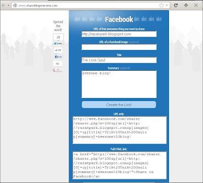 facebook link generator razakpark