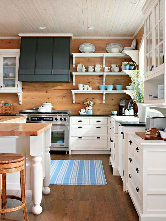 White Wood Plank Walls Kitchen