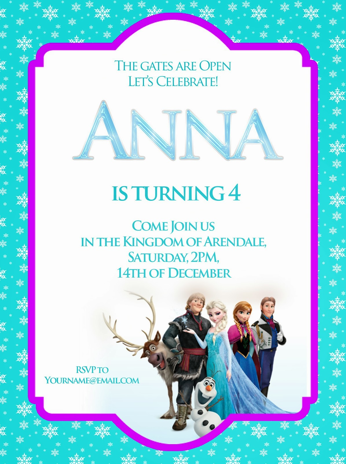 Frozen theme, here is a simple invitation that I have created which