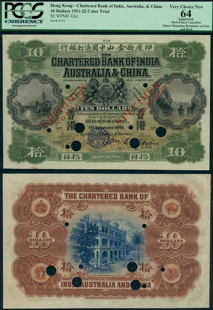Lot 76 :Chartered Bank of India, Australia and China, Hong Kong, colour trial $10, 1 December 1911