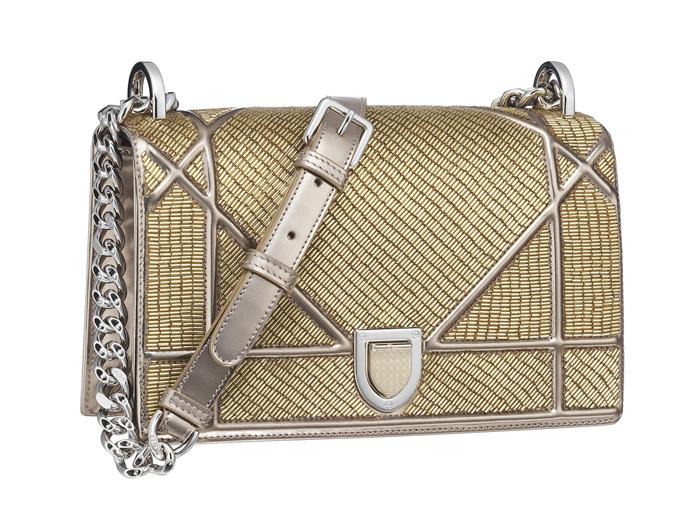 22e060b9bd83 Mini Lady Dior bag in gold and silver braided metallic tweed