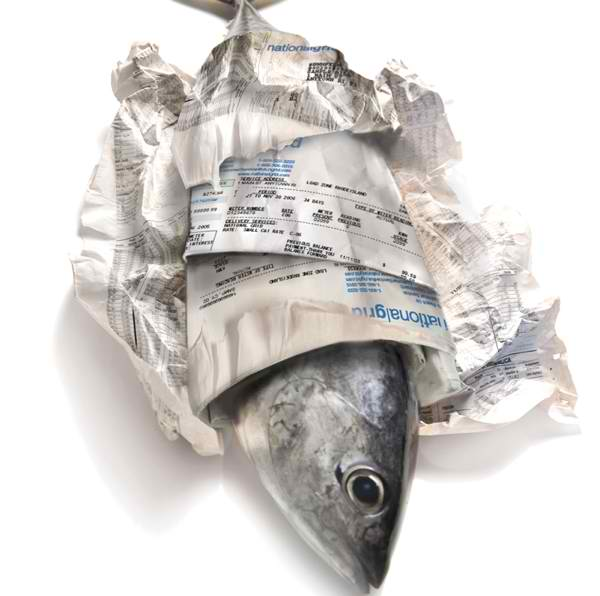 American insight still wrapping fish in newspaper for Fish wrapping paper