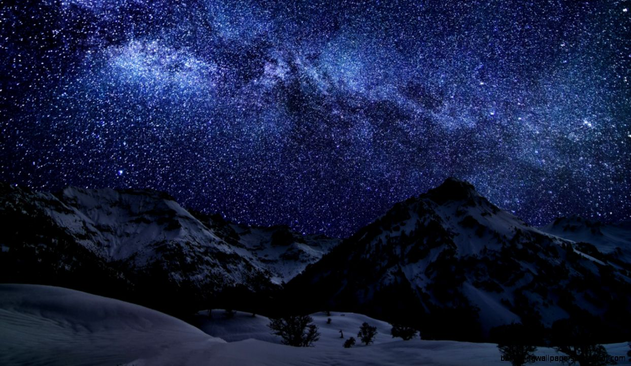 Download Wallpaper 1366x768 Winter Sky Stars Nature Night