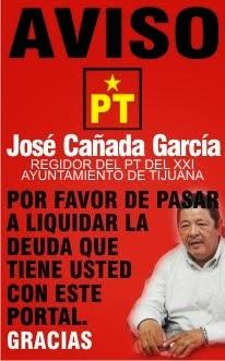 Aviso al regidor petista José Cañada García