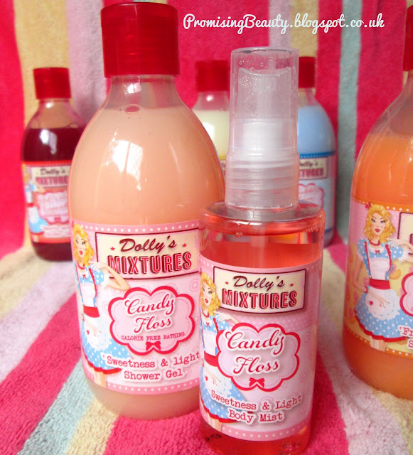Dolys mixtures body spray and shower gel in candy floss (cotton candy) flavour. Sweet, sugary and delicious. With Rhubarb and custard, pina colada and bubblegum in the background
