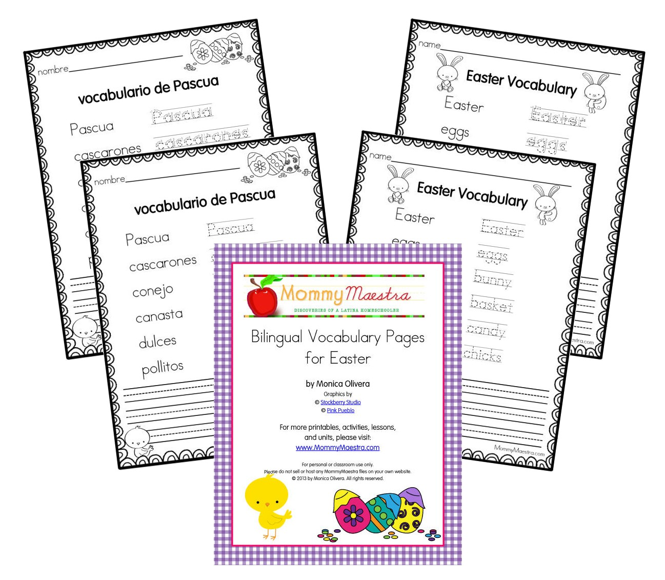 worksheet Spanish Vocabulary Worksheets mommy maestra spanish easter themed vocabulary worksheets printable these worksheet pages come in english or and with directional arrows just dotted lines