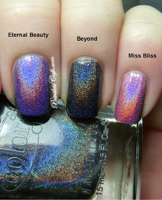 Color Club Holographic Nail Polish Swatches: Color Club Halo Hues 2013: Miss Bliss, Beyond And Eternal