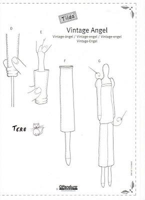 boneca Tilda Vintage Angel com molde