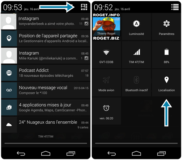 paramétrage de la localisation google sur smartphone