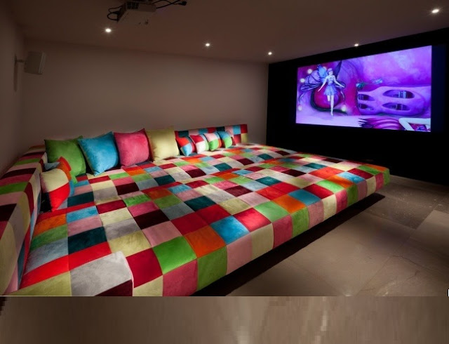 elegant home theater design with colorful comfortable furniture - Theater Room Decor