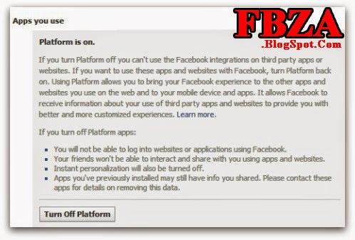 Turn off Facebook platform