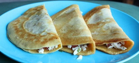 Chickpea Crepes with Peppery Soybean Tofu