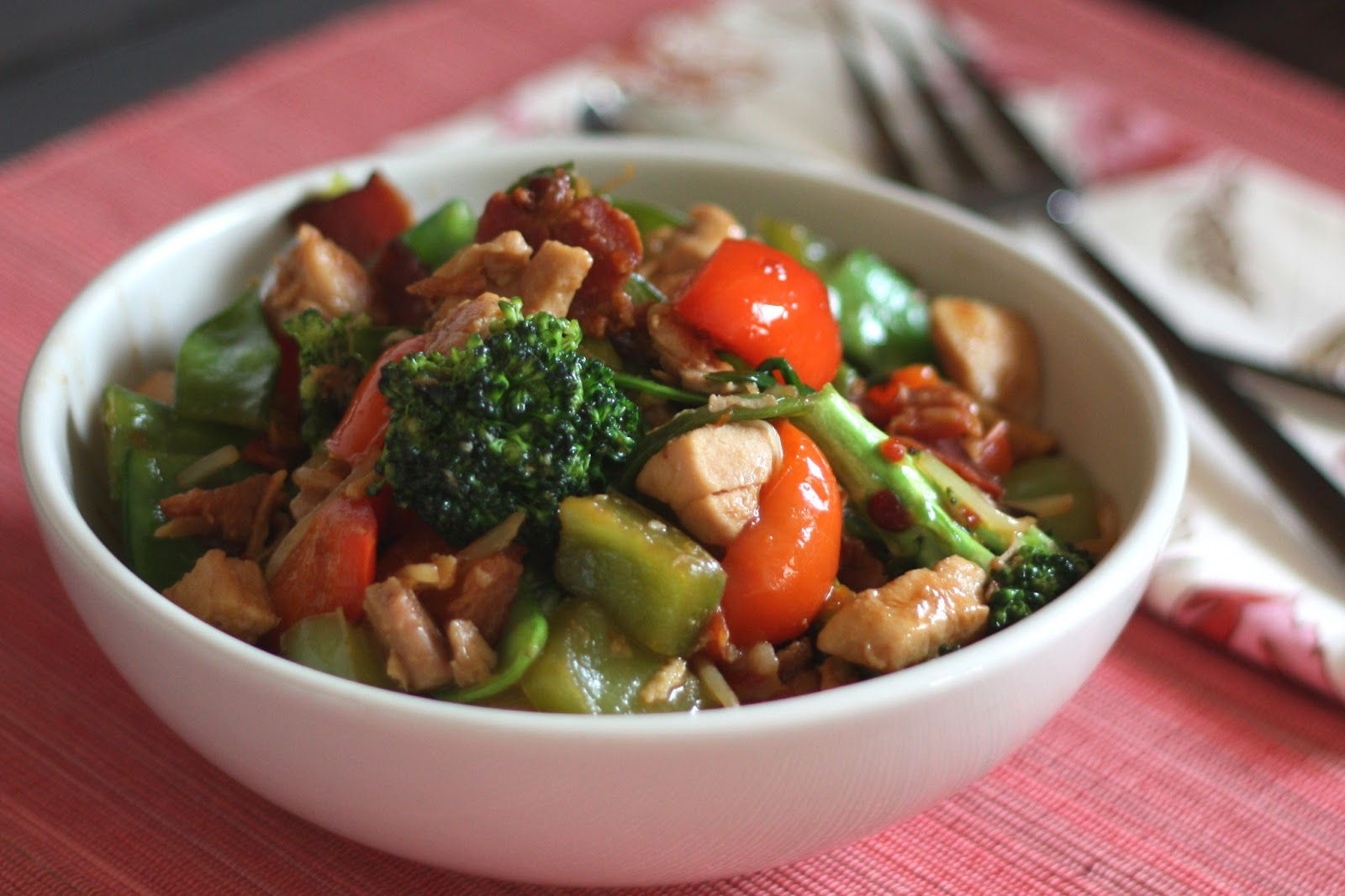 ... sprouts and green onions are quickly stir fried with chicken and bacon