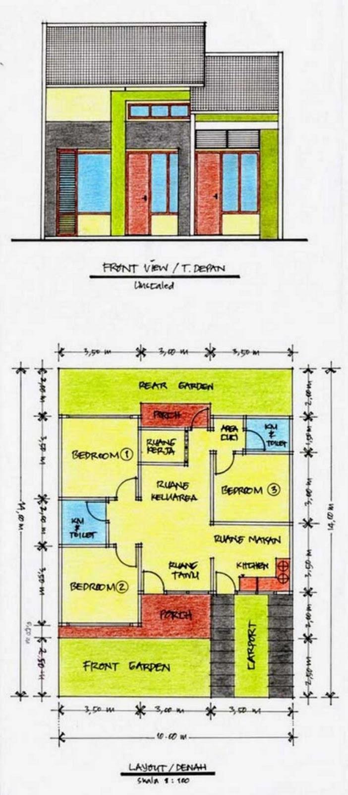contoh denah rumah 10x15 unik