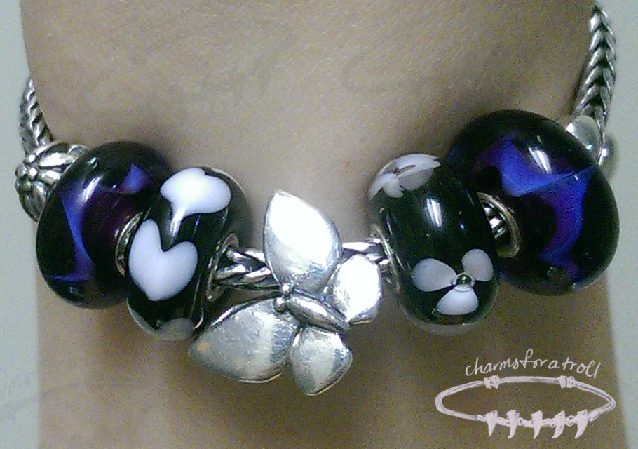Trollbeads Mountain Flower, Purple Wave, White Heart, Fantasy Butterfly, White Flower, Purple Wave