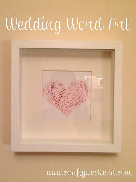 homemade wedding present, word art, ikea box frame