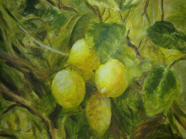 limones con temple a la cola acabado