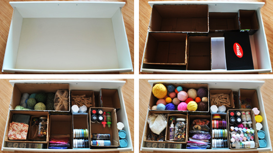 drawer filled with cheap dividers organization