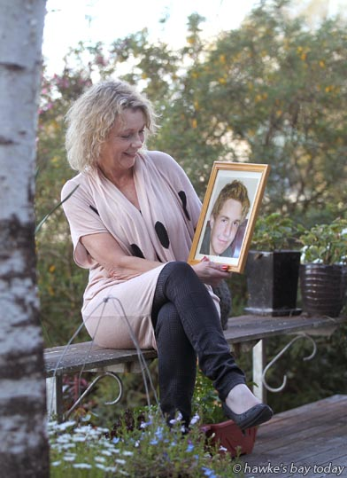 Cherie Adams, Haumoana, with a photograph of her son, Corey Adams, who committed suicide on 20 June, 2011. Story for Suicide Prevention Day. photograph