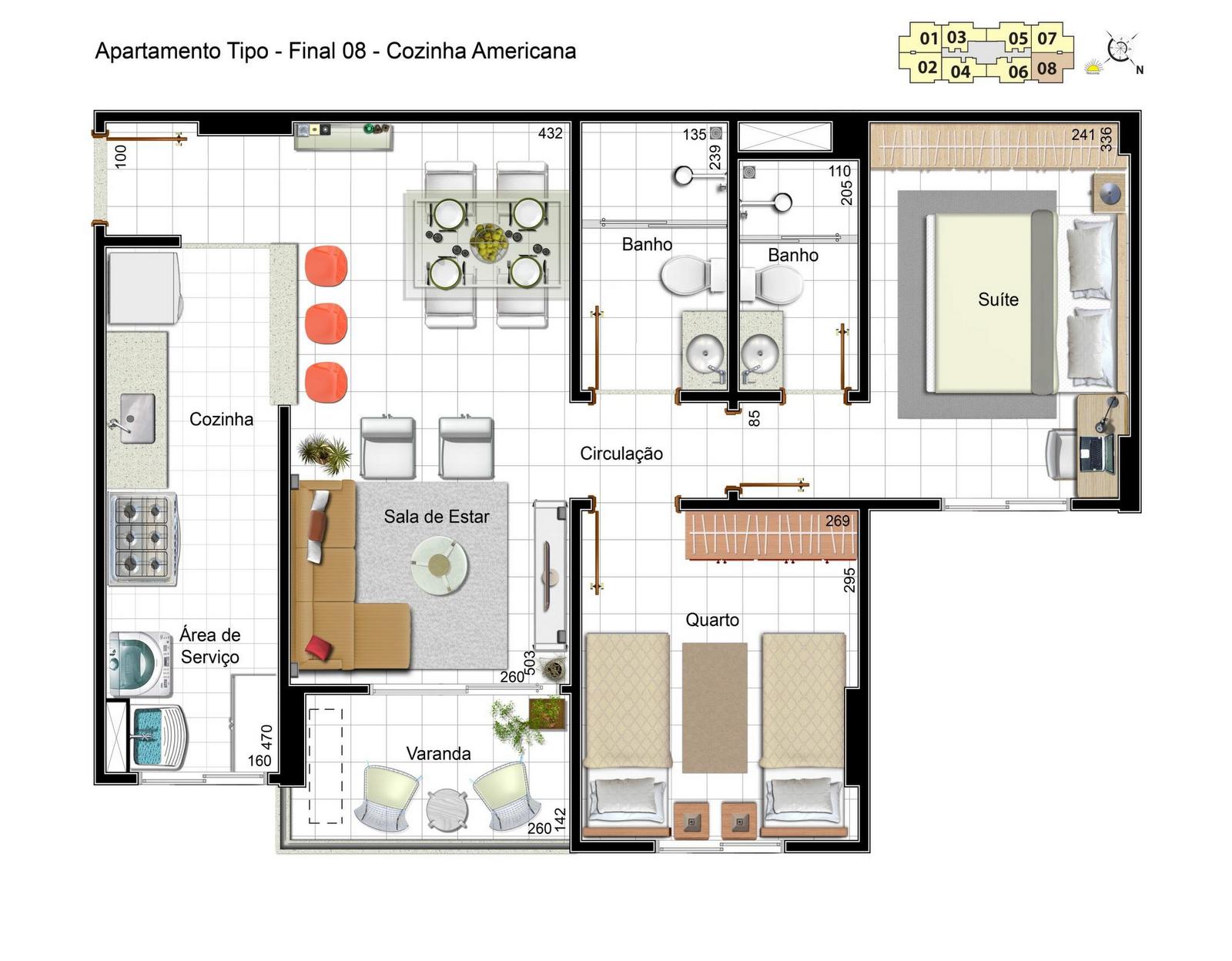 dois quartos sendo um suíte cozinha conjugada comárea de serviço #A54C26 1600 1248