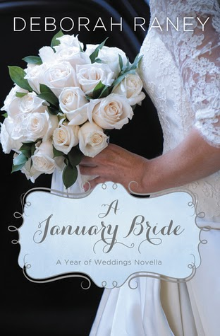 a bride holding a wedding bouquet of white roses is on the book cover of A January Bride by Deborah Raney