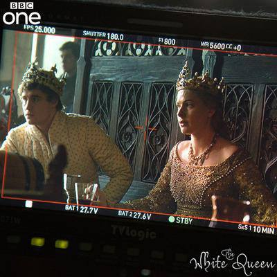 Behind the scenes of The White Queen episode 2 - Max Irons and Rebecca Ferguson film the coronation scenes.