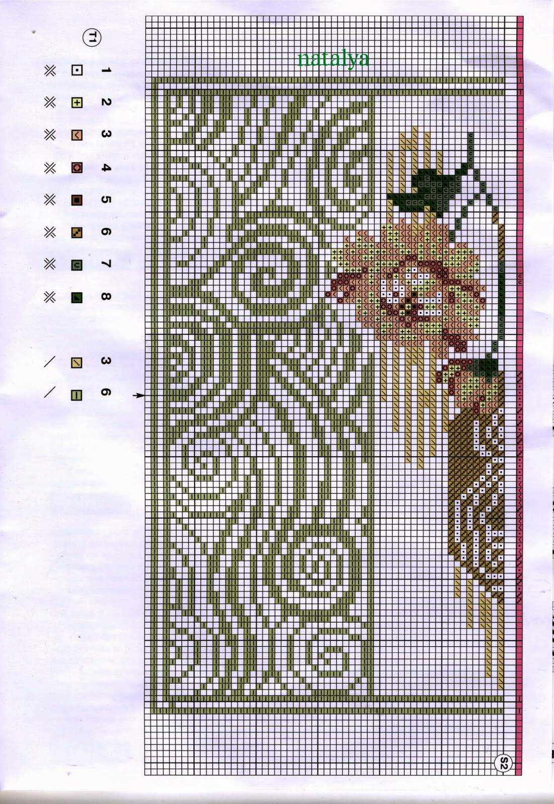 схема вышивки крестом. мостик