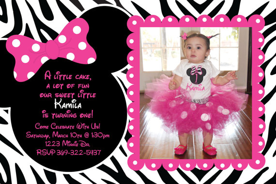 Minnie Mouse Zebra Thank You Cards