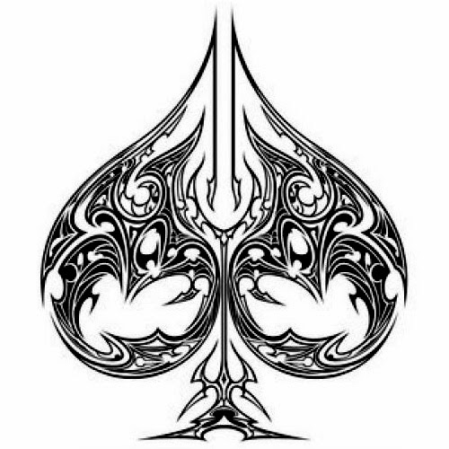 Ace of spades tribal tattoo stencil