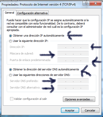 Propiedades General tcp/ip versión 4 windows 7