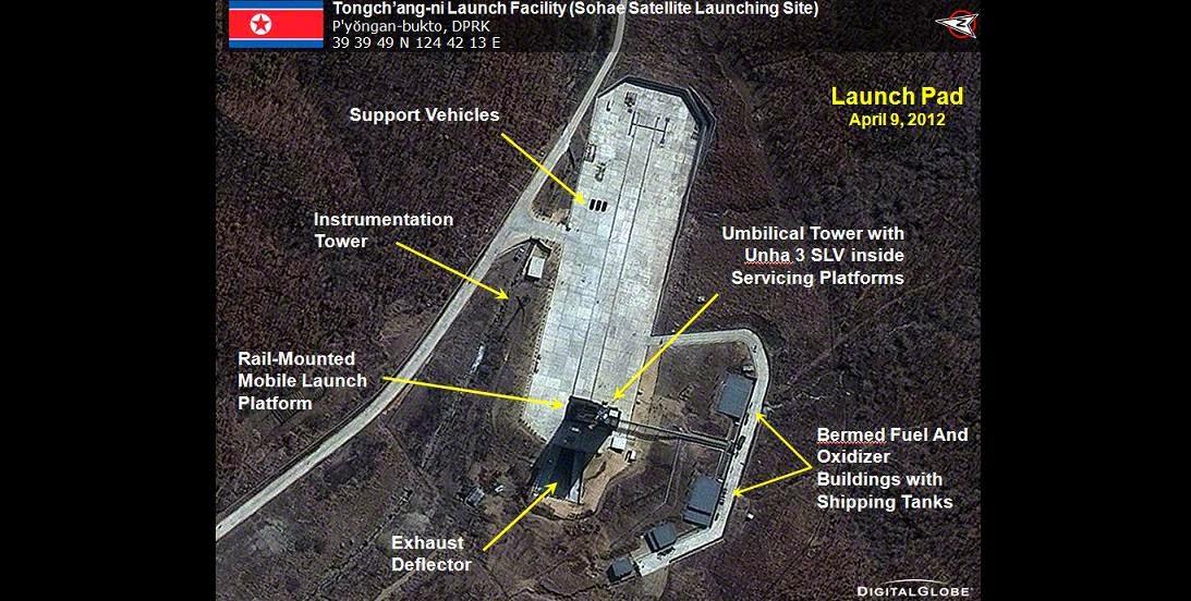 DigitalGlobe satellite image of the Tongchang-ri Launch Facility in North Korea on April 9, 2012. Credit: DigitalGlobe
