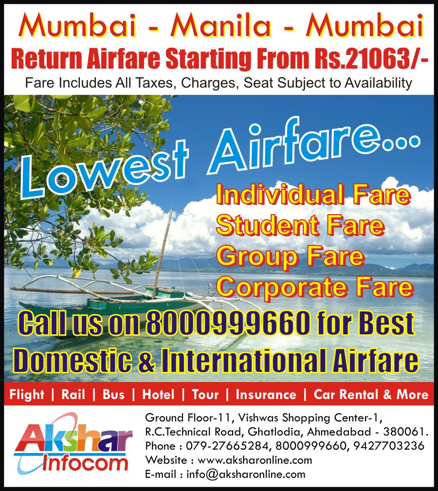 Mumbai - Manila - Mumbai Return Airfare From Mumbai to Manila at Rs.21063/- Per Pax Malaysian Airlines - Akshar Infocom 079-27665284, 8000999660, 9427703236 - Domestic and International Air Ticketing Agent Ahmedabad, Lowest Airfare