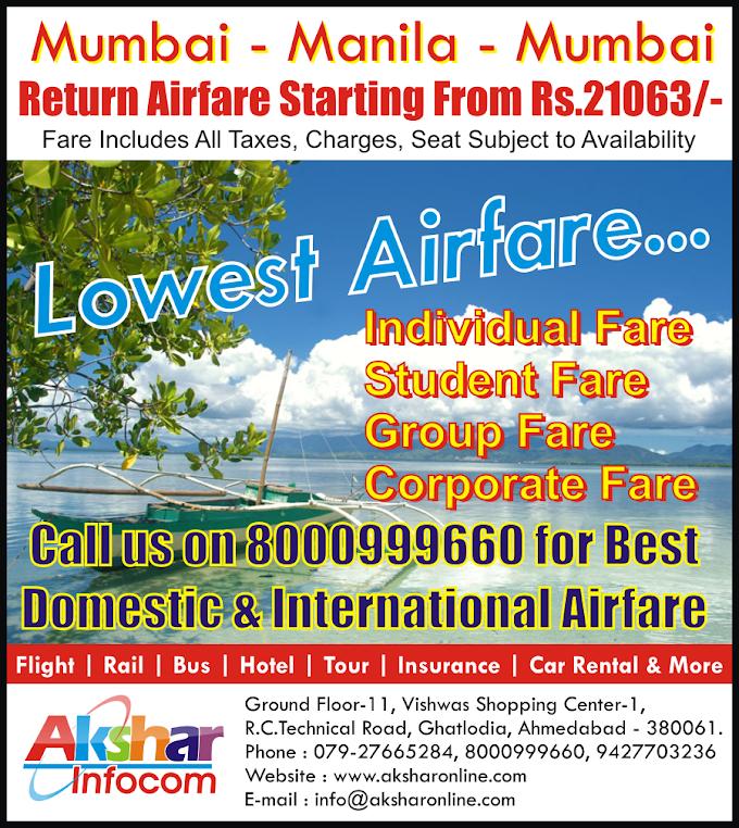 Mumbai - Manila - Mumbai @ Lowest Airfare Starting From 21063/-