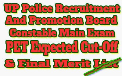 UP Police Constable Main Exam Cut Off Merit List 2017