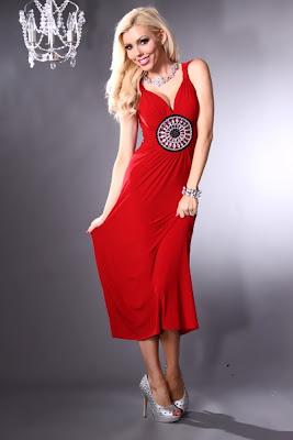 RED V NECK FACETED GEMSTONE ACCENT ANKLE LENGTH HEM MAXI DRESS