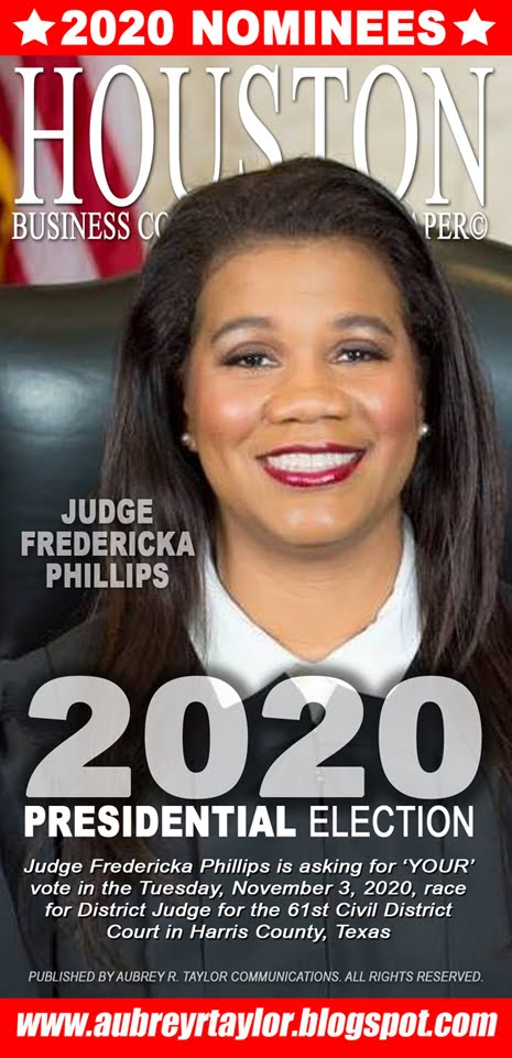 Judge Fredericka Phillips Values Your Vote, Prayers, and Support on Tuesday, November 3, 2020