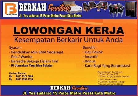 Lowongan Kerja BERKAH FURNITURE Lampung, Jumat 17 April 2015