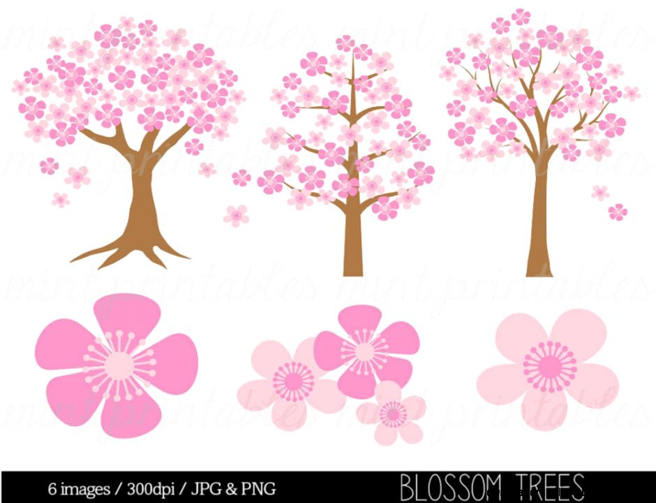 Tree Clipart Clip Art Spring Flower Flower by mintprintables