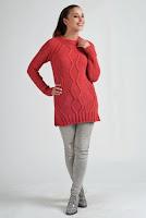 Pulover tricotat de culoare corai, cu model interesant ( )