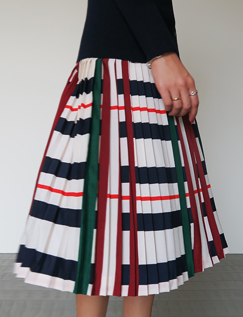 Pleated Mixed Stripe Skirt
