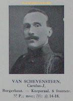 Oorlogsvrijwilliger Carolus Julianus Van Schevensteen 1892-1994, Eerste Wereldoorlog 1914-1918