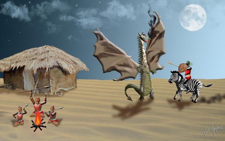 Masai père dit à ses enfants la léyende de saint georges et le dragon