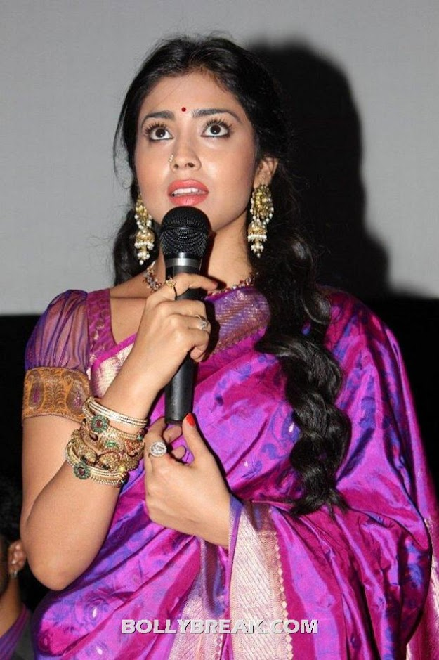 Shriya saran with mic - (2) - Shriya saran purple saree photos