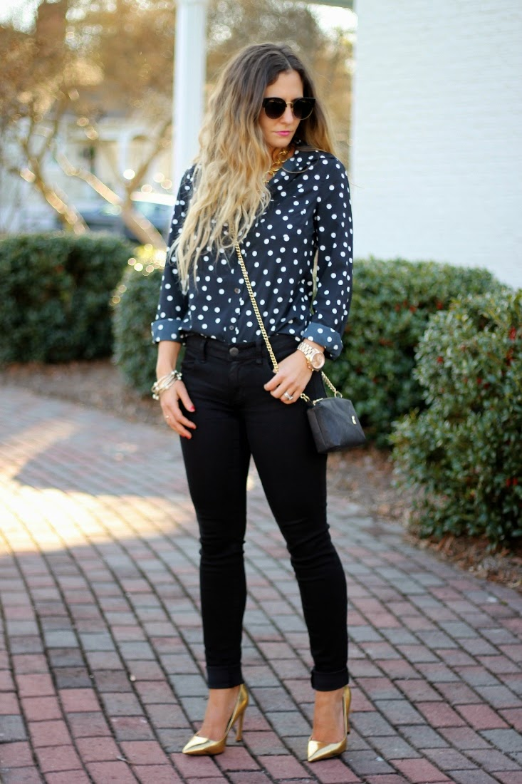 Navy and Black outfit with gold shoes