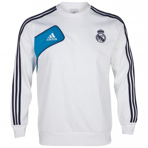 Sudadera del Real Madrid para la temporada 2012/2013. Hazte con la sudadera  oficial del Real Madrid. Jersey Adidas en blanco con detalles en azul  celeste.