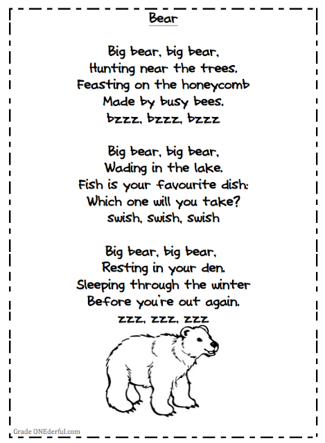Grade ONEderful: collection of 4 bear poems