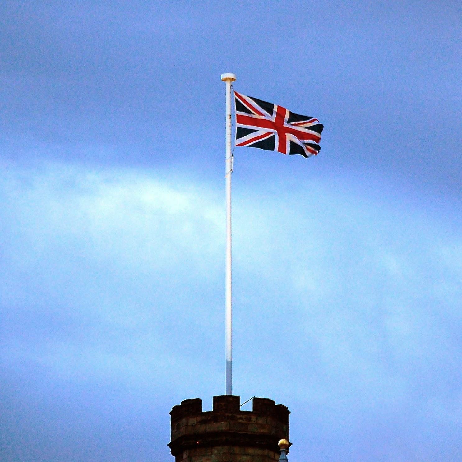 U.K. flag atop Edinburgh Castle
