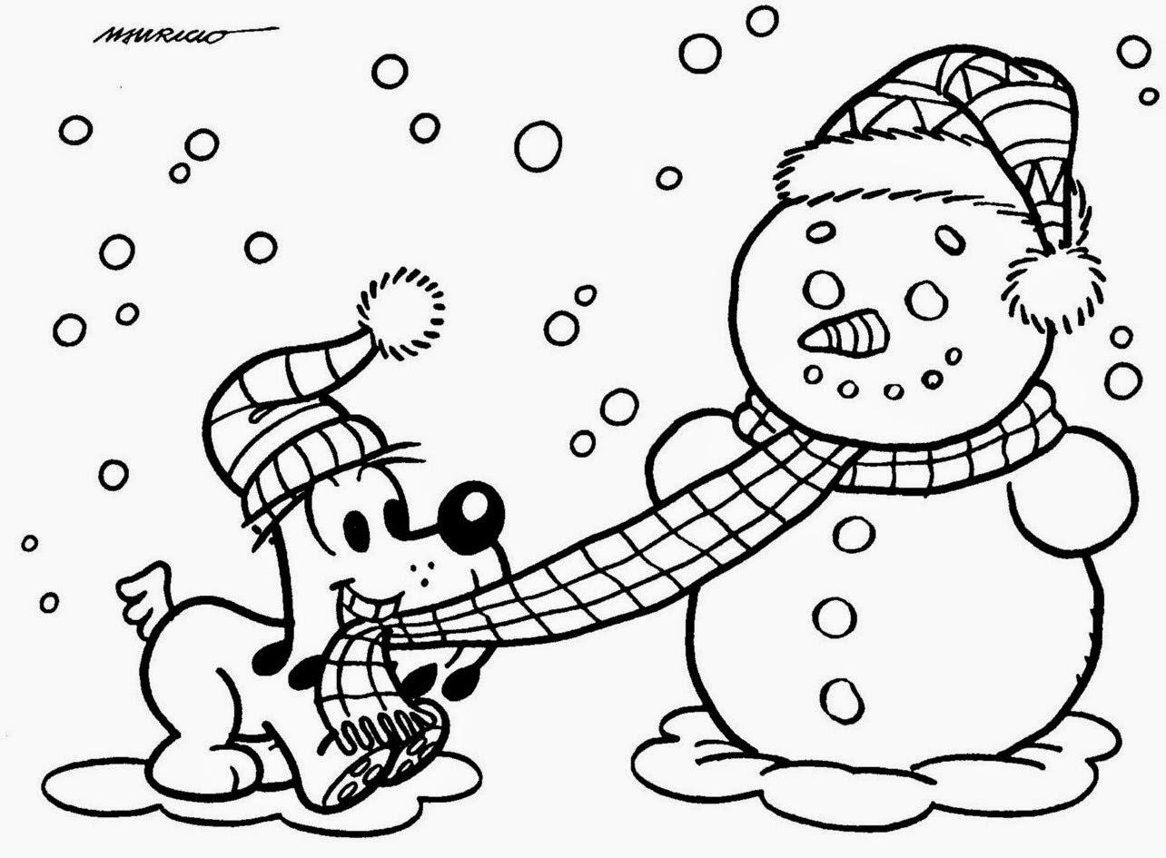desenho turma da monica no natal bidu e boneco de neve