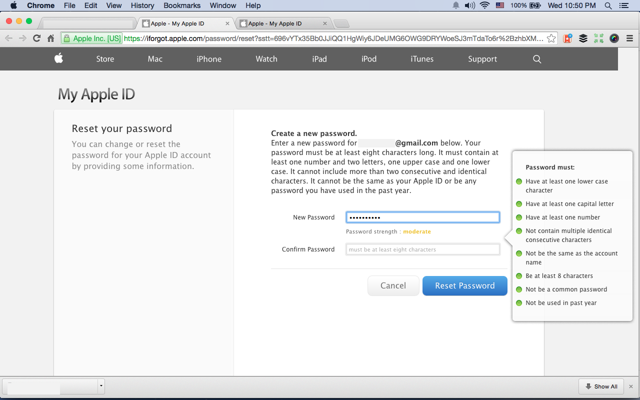 The password strength appears